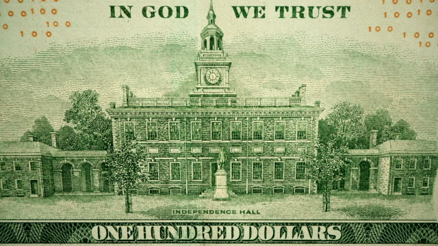 $100 dollar bill currency of the united states of america - independence hall stock videos & royalty-free footage