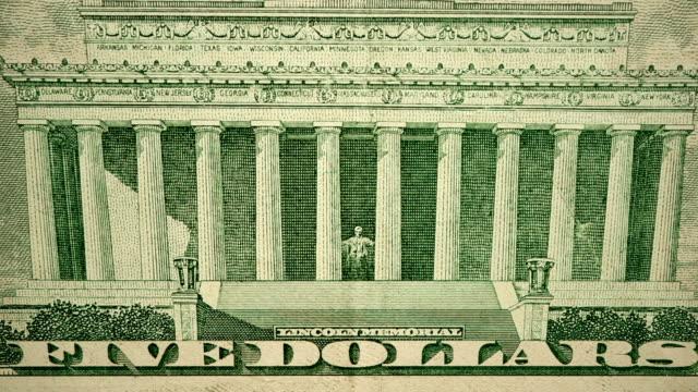 vídeos y material grabado en eventos de stock de $5 dollar bill moneda de los estados unidos de américa - billete de cinco dólares estadounidense