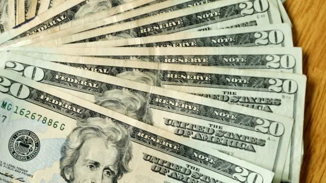 20 dollar bill pile - twenty us dollar note stock videos & royalty-free footage