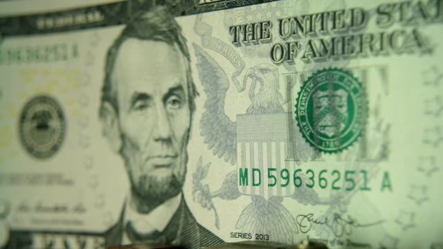 5 dollar bill with lincoln - abraham lincoln stock videos & royalty-free footage