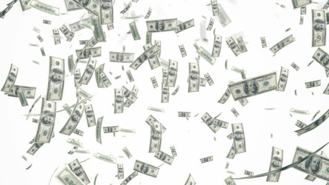 4k dollar bills falling on white background | loopable - banknote stock videos & royalty-free footage