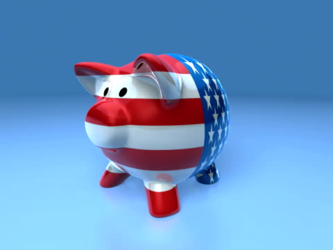 vídeos de stock e filmes b-roll de cgi dollar coins falling into u.s. themed piggy bank on blue background - movimento perpétuo