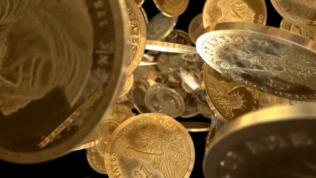 U.S.A. Dollar Coins Tumbling Towards View