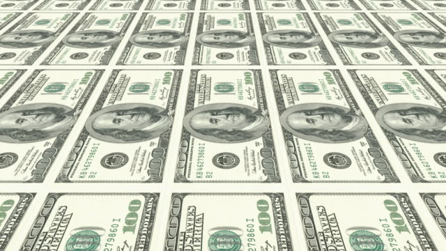 4k dollar currency background   loopable - american one hundred dollar bill stock videos & royalty-free footage