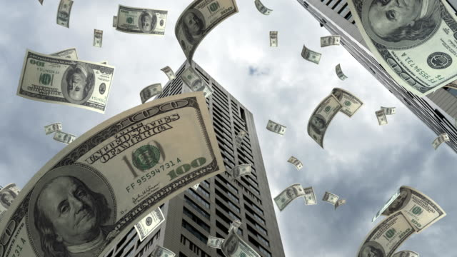 dollar flying in city - 4k resolution - economia video stock e b–roll