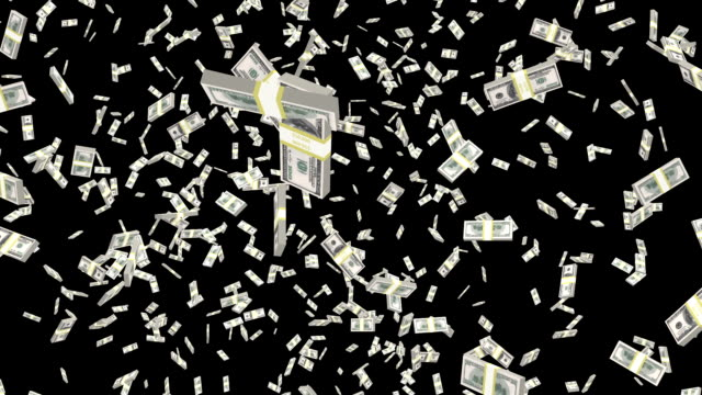 Dollar money falling, loop-able.