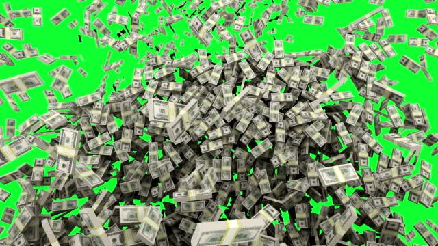 hd : dollaro soldi cubi con schermo verde. - valuta video stock e b–roll