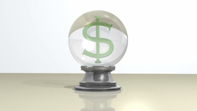 A dollar sign appears within a crystal ball