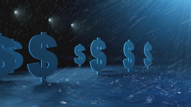 WS PAN ZI ZO Dollar signs being hit by rain / Melbourne, Victoria, Australia