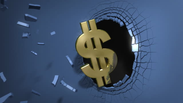 dollar symbol crashing the stock market wall - explosion wall stock videos and b-roll footage