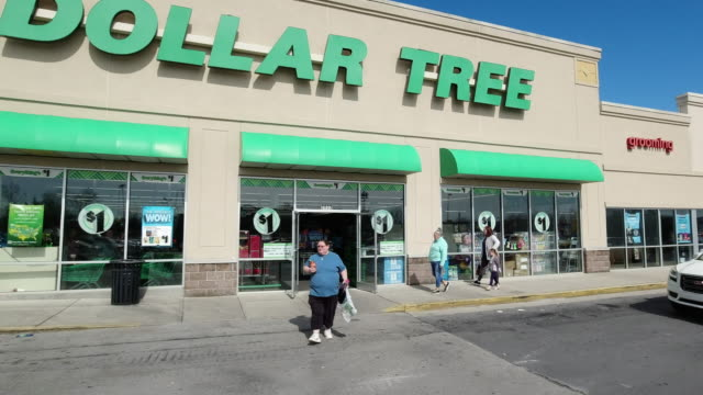 dollar tree stores, inc., formerly known as only $1.00, is an american chain of discount variety stores that sells items for $1 or less.... - chain store stock videos & royalty-free footage