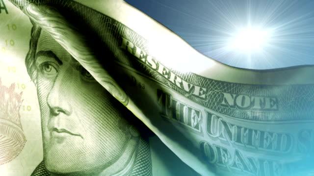 dollaro statunitense di bandiera - banconota da 10 dollari statunitensi video stock e b–roll