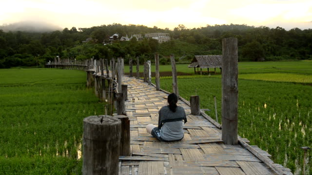 dolly: a beauty woman  sit leisurely and keep memory - mae hong son province stock videos and b-roll footage
