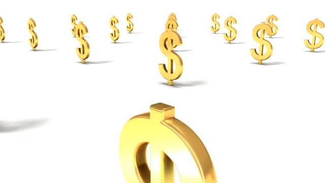 vídeos de stock, filmes e b-roll de dolly back diagonally from single dollar sign revealing many - símbolo de moeda