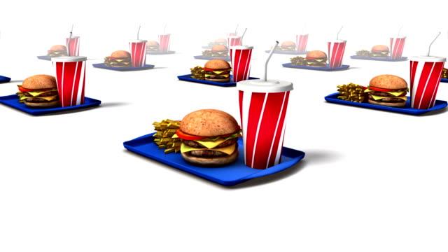 vídeos y material grabado en eventos de stock de dolly back diagonally from single fast food revealing many - bandeja para servir