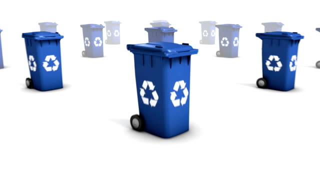 dolly back diagonally from single recycle bin revealing many (blue) - societal symbol stock videos & royalty-free footage