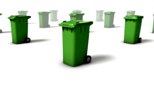 dolly back diagonally from single trash can revealing many - wastepaper bin stock videos & royalty-free footage