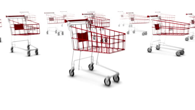 dolly back revealing many shopping carts - cart stock videos & royalty-free footage