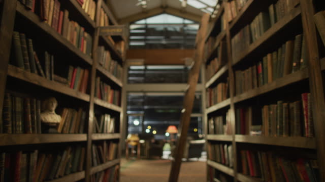 vídeos de stock, filmes e b-roll de dolly down the stacks and book shelves of an old public library. - prateleira mobília
