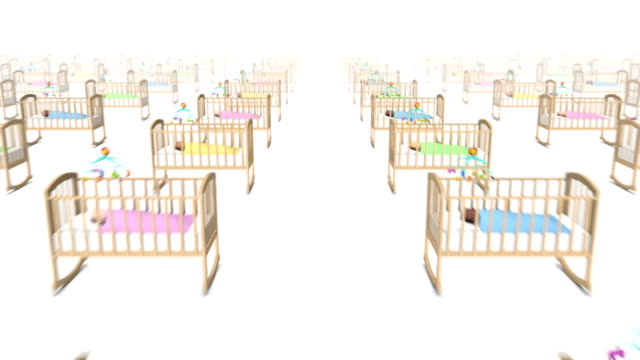 Dolly forward over many Cribs with Baby to none