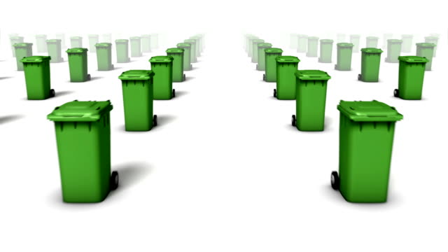 dolly forward over many trash cans to none (green) - wastepaper bin stock videos & royalty-free footage