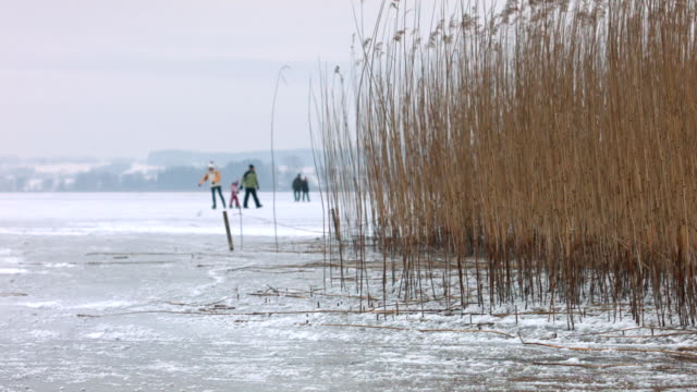 Dolly: Ice and ice skaters on a frozen lake