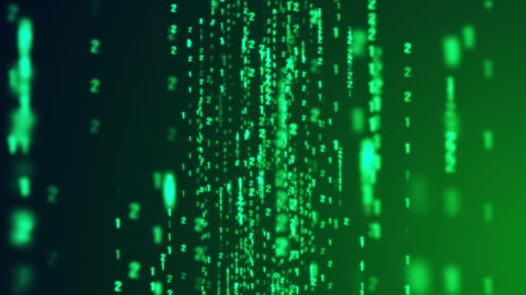 dolly in of digital binary code matrix falling on green background - zoom in stock videos & royalty-free footage