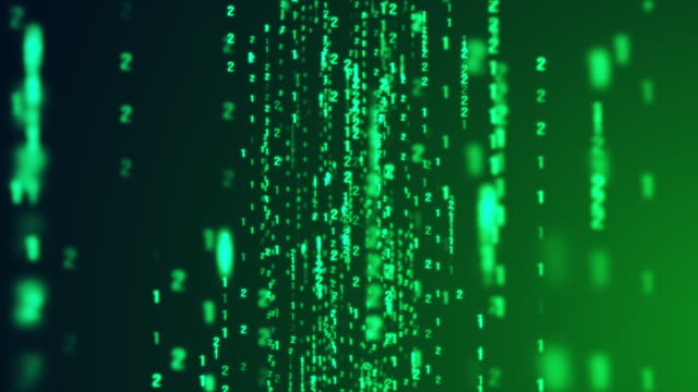 stockvideo's en b-roll-footage met dolly binnen van digitale binaire codematrix die op groene achtergrond valt - inzoomen