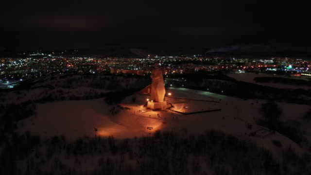 dolly left of memorial to the defenders in murmansk, russia - 1941 stock videos & royalty-free footage