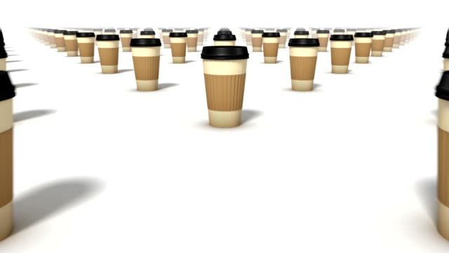 dolly over many coffee cups to a single cup - lid stock videos and b-roll footage