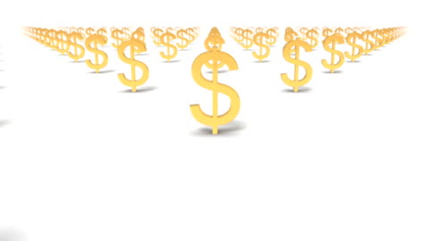 dolly over many dollar signs to a single sign - financial item stock videos & royalty-free footage