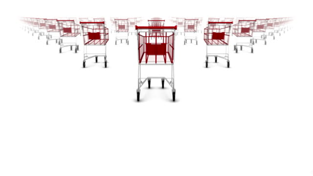 dolly over many shopping carts to single shopping cart - cart stock videos & royalty-free footage