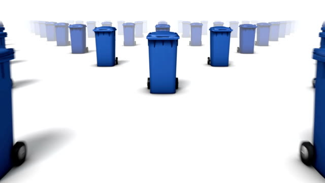 dolly over many trashcans to single a trashcan (blue) - wastepaper bin stock videos & royalty-free footage