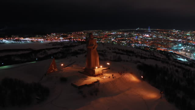 dolly right of memorial to the defenders in murmansk, russia - 1941 stock videos & royalty-free footage
