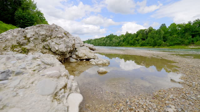 dolly: river salzach in summer - traditionally austrian stock videos & royalty-free footage