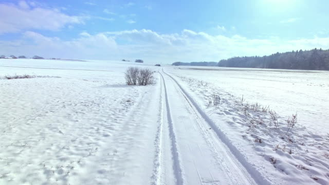 dolly: seldomly used dirt road in winter - tire track stock videos & royalty-free footage