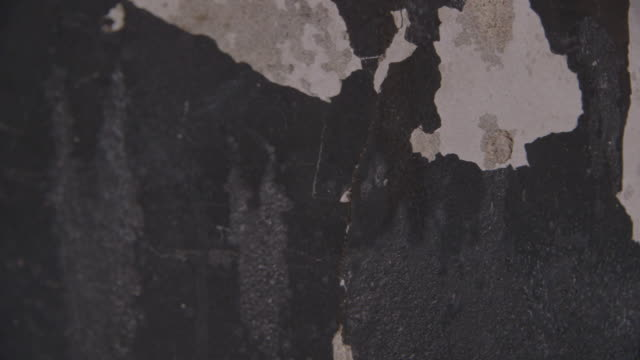 cu dolly shot across peeled paint on a wall - heruntergekommen stock-videos und b-roll-filmmaterial