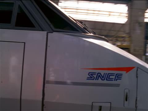 dolly shot around TGV bullet train in Gare de Lyon / Paris, France