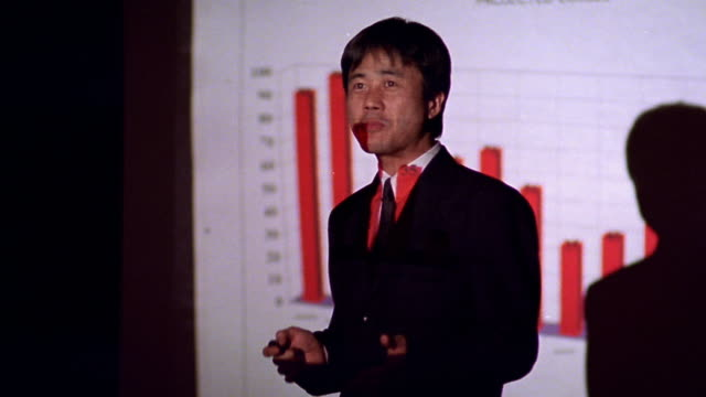 MS dolly shot Asian businessman giving presentation with projected bar chart in background / answering questions