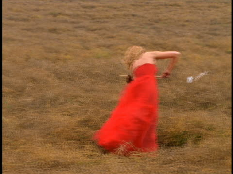 dolly shot blond woman with music stand in formal red dress playing violin in grassy field - red dress stock videos & royalty-free footage