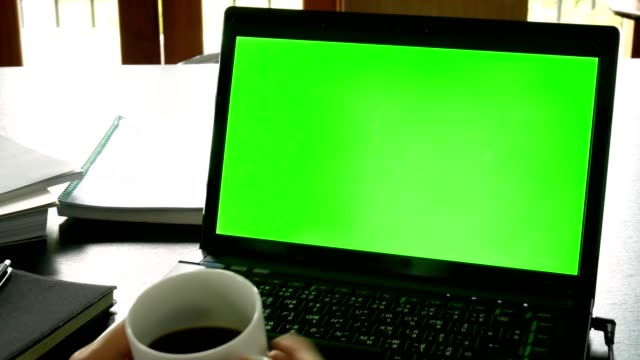 dolly shot: business man using laptop computer with green screen for chroma key at office table - business concept