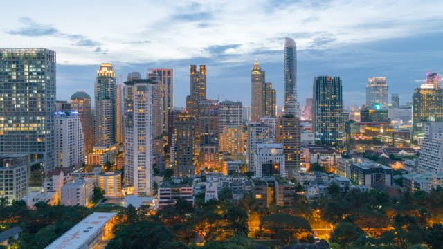 dolly shot central business district thailand, day to night time-lapse , bangkok landmark - bangkok stock videos & royalty-free footage