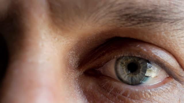 vídeos de stock, filmes e b-roll de dolly shot. extremo close-up dolly tiro no olho de um homem - olhos verdes