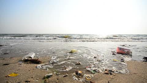 vídeos y material grabado en eventos de stock de dolly shot: basura pollutions en la playa sucia - contaminación de aguas