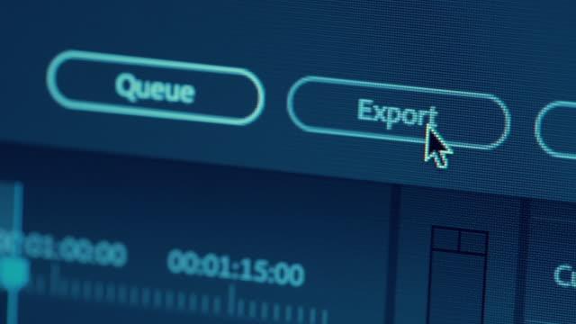 vídeos de stock e filmes b-roll de dolly shot macro export button - editorial