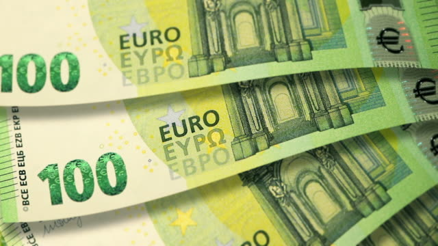 dolly shot of €100 banknote currency of the european union - banknote stock videos & royalty-free footage