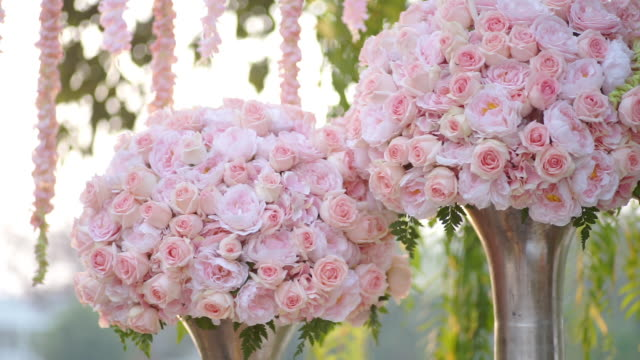 dolly shot of a bouquet of pink roses in a vase. - bouquet stock videos & royalty-free footage