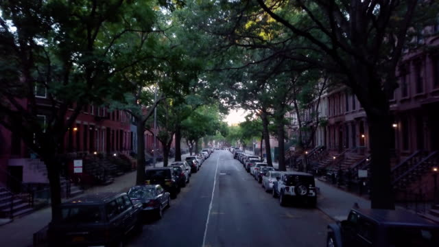 Dolly shot of a quiet block in Brooklyn.