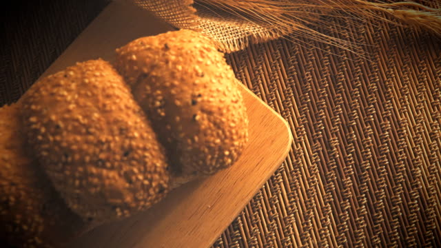Dolly shot of bread.