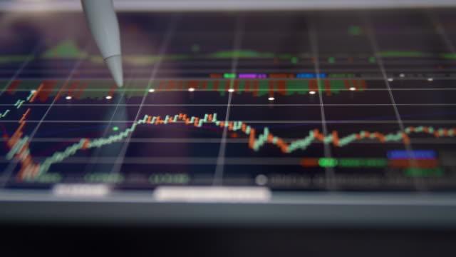 vidéos et rushes de dolly shot de l'homme d'affaires analysant au graphique des données de marché boursier, close-up - bombe